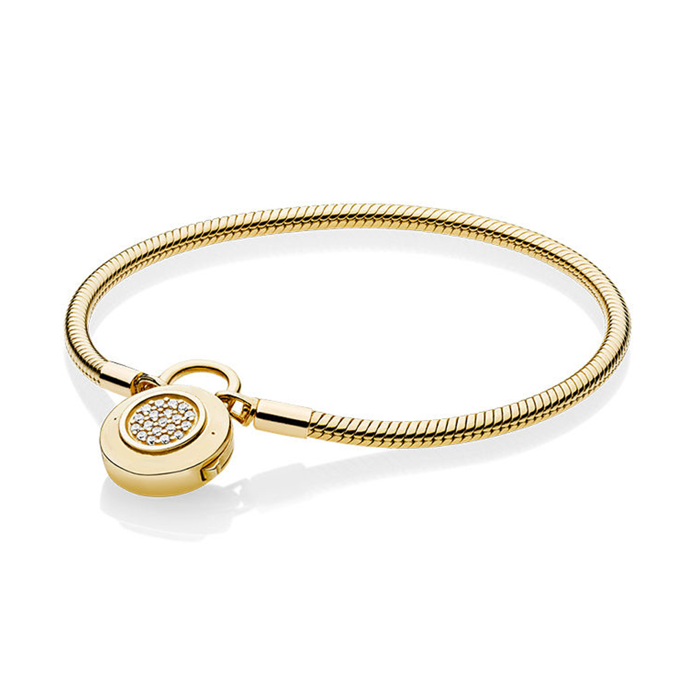 NEW 2018 NEW 100% 925 Sterling Silver Smooth Shine Gold Bracelet Signature Padlock Clear CZ Charm Lock DIY Bead JewelryNEW 2018 NEW 100% 925 Sterling Silver Smooth Shine Gold Bracelet Signature Padlock Clear CZ Charm Lock DIY Bead Jewelry