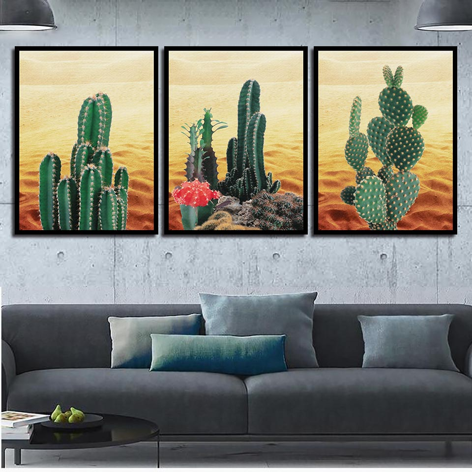 HD Print Picture Poster Wall Art Living Room Desert Cactus Landscape Nordic Watercolor Canvas Painting Bedroom Home Decoration