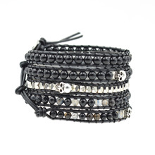 Fashion Charm Multilayer Leather Natural Stone Bracelet Wrap For Women Beaded Yoga Accessories Wholesale