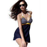 One Piece Woman Navy Windsuit Body Swimsuit Stripes Adult Ladies Polyester Swimware Small Fresh Sexy Bikini
