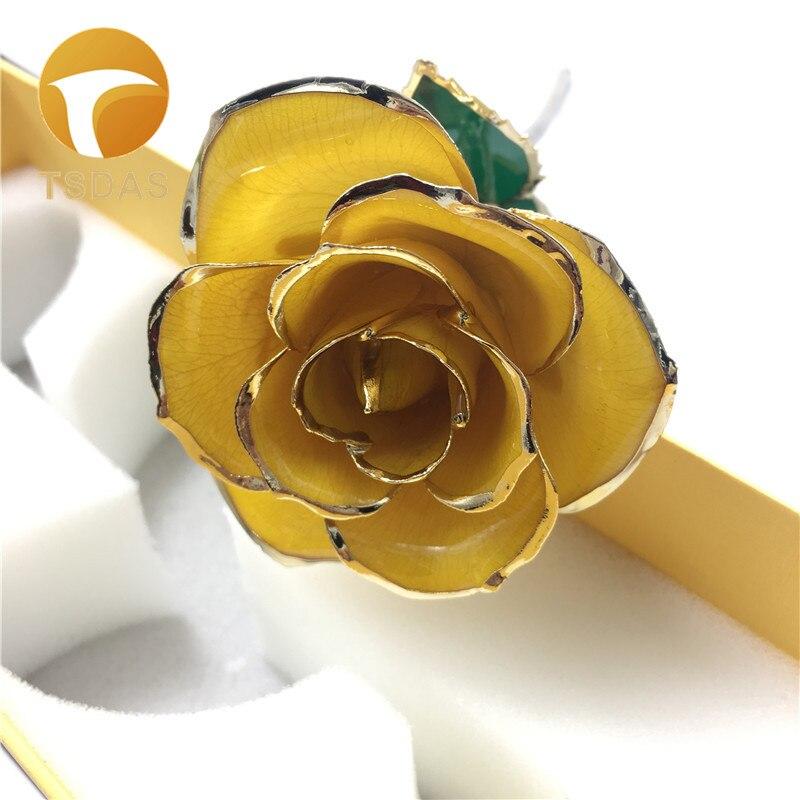 Fleur artificielle jaune Rose cadeau de retour de mariage mode 24 k or Rose fleur amoureux or plongé Rose venez avec boîte-cadeau