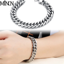 MINCN 2019 100% stainless steel men thick bracelet male cuban link chain on hand accessories mans couple bracelets mens