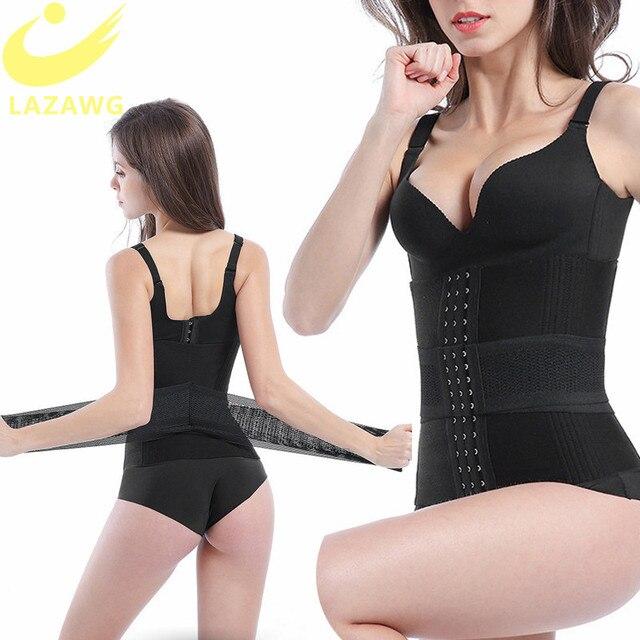 LAZAWG Women Waist Trainer Body Shaper Double Closure Firm Tummy Control Belt Waist Trimmer Weight Lost Corset Modeling Strap 3