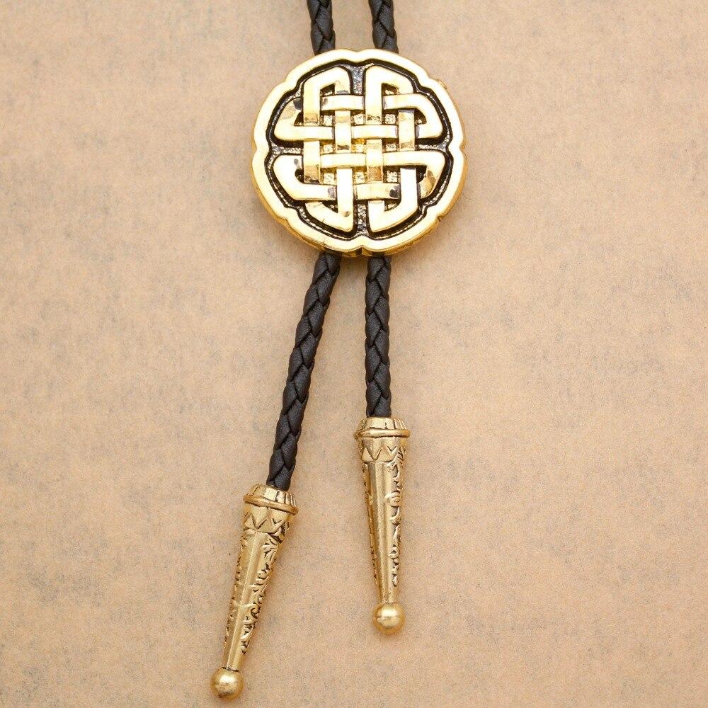 Western Celtic Trinity Cross Knot Leather Rodeo Wedding Necktie Gravata Borboleta Bola Bolo Bow Ties For Men Jewelry Anime