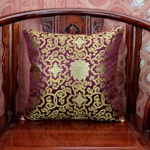 Ручной работы с цветочным принтом китайский стул подушка для дивана в этническом стиле Подушка под поясницу декоративные наволочки шелк атласная наволочка 45x45 см - Цвет: purple red