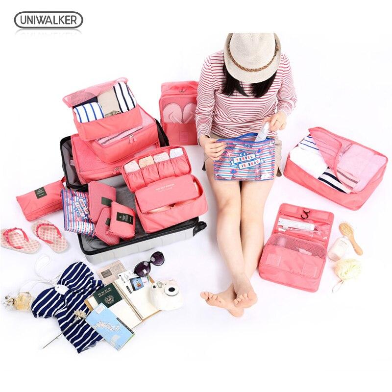 UNIWALKER sac de rangement étanche 6 pièces/ensemble Oxford tissu voyage sac en maille dans l'organisateur de bagages emballage Cube organisateur pour vêtements