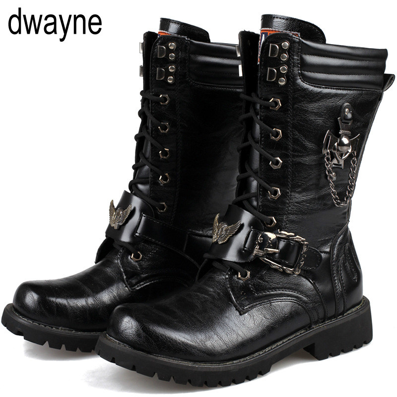 2018 Army Boots Men High Military Combat Men Boots Mid Calf Metal Chain Male Motorcycle Boots Autumn Men's Shoes fgb56