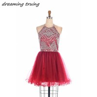 2019 Burgundy Mini Homecoming Dresses With Beaded Short Sexy Graduation Dress Open Back Prom Party Formal Gowns Cocktail Dresses