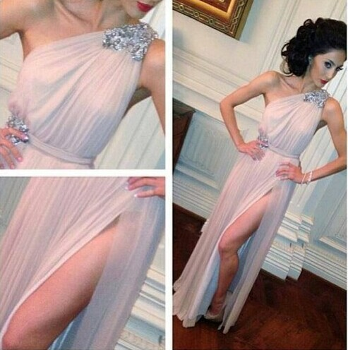 Weddings & Events Humble Hot Sale One Shoulder Crystal Beaded Evening Dresses Floor Length Chiffon Prom Dresses Backless With Side Slit 2017 New Ww08 Yet Not Vulgar