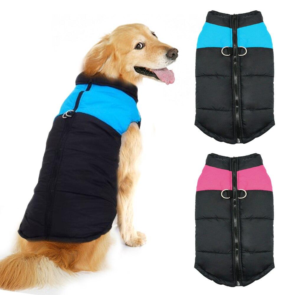 Kleidung für Große Hunde Wasserdicht Hund Weste Jacke Winter Nylon Hunde Kleidung für Hunde Chihuahua Labrador Blau Rosa