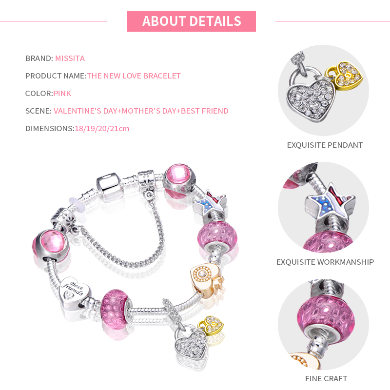 MISSITA Love Heart Series Bracelet with Clear CZ Heart Charms Pink Murano Bead Brand Bangle for Women Jewelry Anniversary Gift in Charm Bracelets from Jewelry Accessories