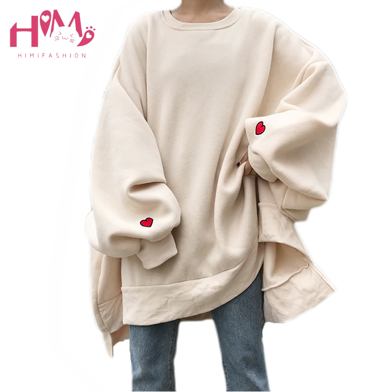 Japanese Harajuku Oversize Winter Fleece Women Hoodies Korean Heart Embroidery Loose Casual Long Sleeve Plus Size Sweatshirts in Hoodies amp Sweatshirts from Women 39 s Clothing