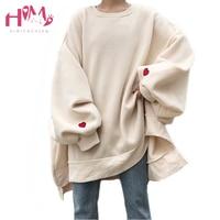 Japanese Harajuku Oversize Winter Fleece Women Hoodies Korean Heart Embroidery Loose Casual Long Sleeve Plus Size Sweatshirts