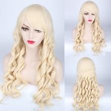 Mode Lolita Lange Wellenförmige Blonde Braun Cosplay Perücke Mit Pony Synthetische Haar Halloween Kostüm Party Spielen Perücken Für Frauen
