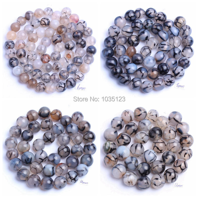 Free Shipping 6.8.10.12mm Natural Round Shape Cracked Black And White Color Agates Loose Beads Strand 15 Jewellery Making wj85
