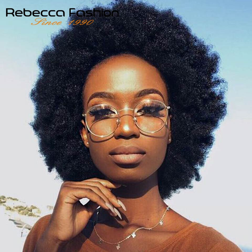Practical Rebecca Short Afro Kinky Curly Wig Brazilian Remy Human Hair Wigs For Black Women Black Brown Red Wine 10 Colors Free Shipping Mild And Mellow