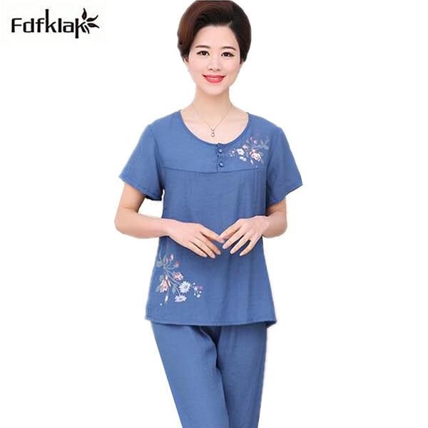 f284d2b60 XL-4XL Plus size women pajamas set short sleeve o-neck cotton pyjamas set  ladies sleepwear pijamas home clothes pyjama femme
