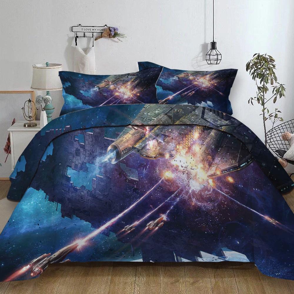 科学フィクションシリーズスターウォーズ宇宙船ベッドリネンセットツイン全女王キングスーパーキングサイズカラフルな布団カバーセットベッドセット  グループ上の ホーム&ガーデン からの 寝具セット の中 1