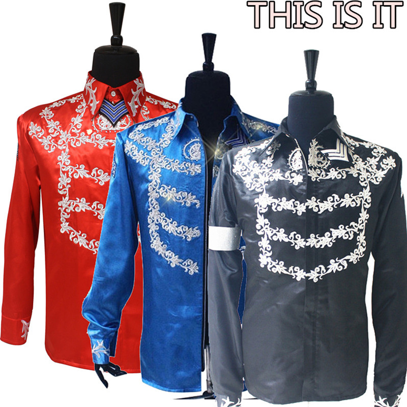 Rare Fashion MJ Michael Jackson US England THIS IS IT Handmade 100% Crystal On Silver Printing Shirt Jacket In 3 Color