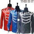 Rare Moda MJ Michael Jackson EE.UU. Inglaterra ESO ES todo hecho a mano 100% Cristal De Plata Camisa de Impresión Chaqueta En 3 Color