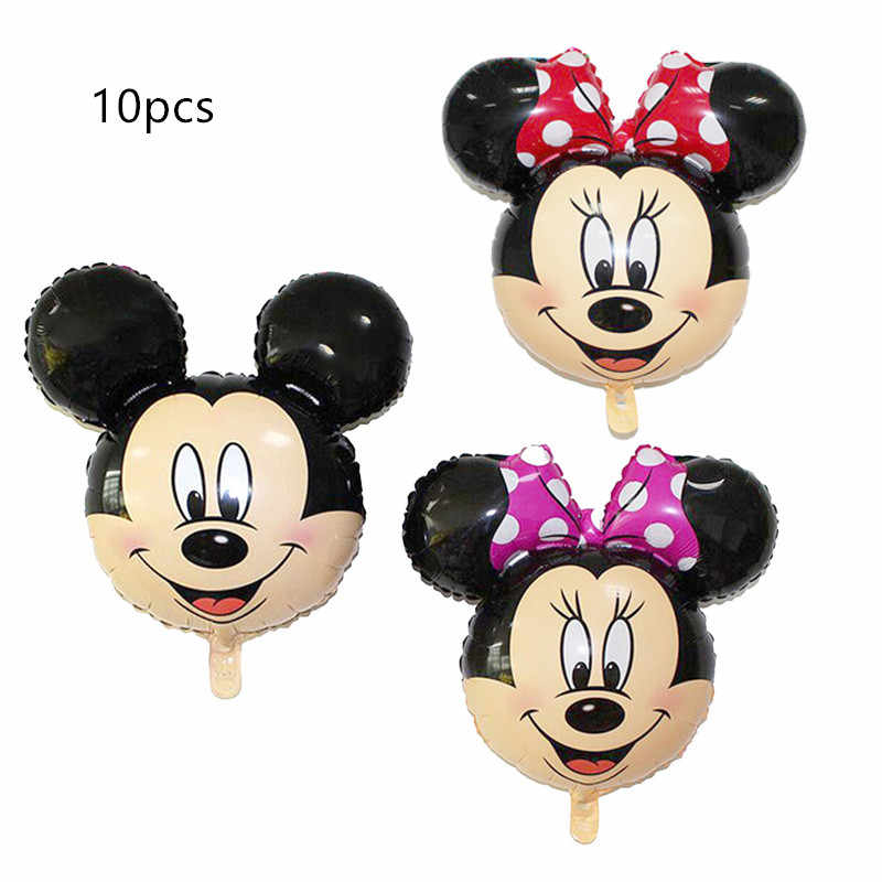 10pcs Cute Mini Mickey Mouse Minnie head foil balloon Kids Birthday Party Decoration Baby Shower Supplies Inflatable balloons