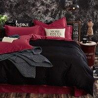 100% Cotton Black Red Color King Queen Twin size Kids Bedding set Solid Color Duvet cover set Bedsheet /Fitsheet Pillowcases
