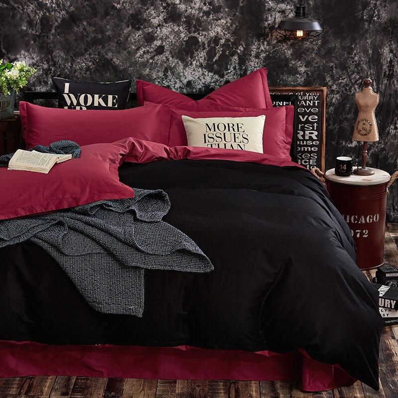 100% baumwolle Schwarz Rot Farbe König Königin Twin größe Kinder Bettwäsche set Einfarbig bettbezug set Bettlaken/Fitsheet kissenbezüge-in Bettwäsche-Sets aus Heim und Garten bei  Gruppe 1
