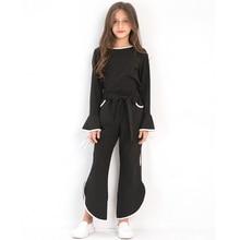 цена на Girl Autumn Suit Black Flare sleeve Tops Chiffon Long-sleeved Bow Spring Children 2PCS Set Fashion Clothing Set for 6-14Y Teens