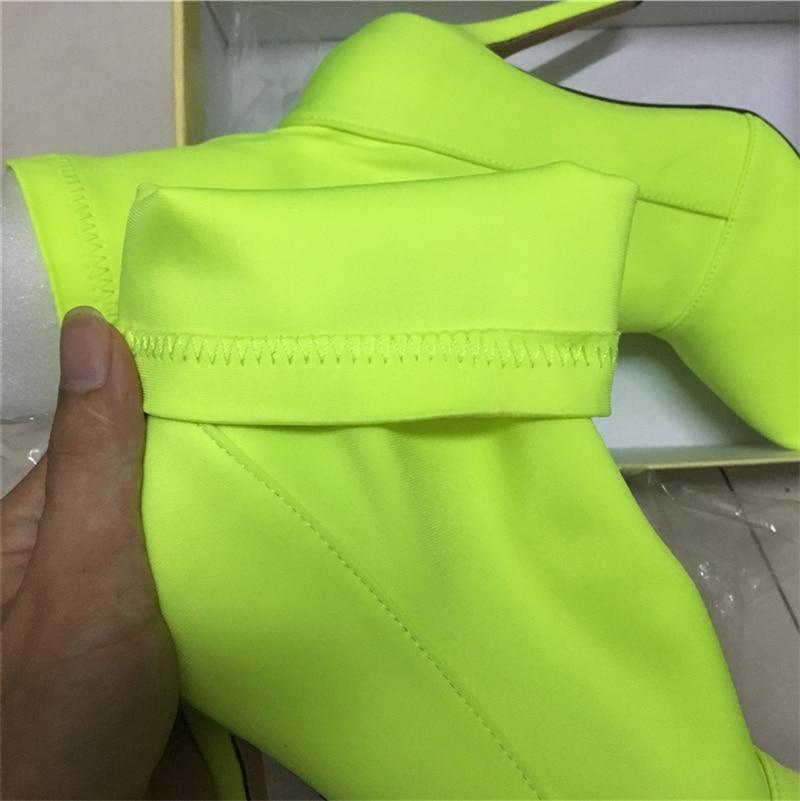 Image 5 - 2019 г., большие размеры 42, женские сапоги, фетиш, Шелковый носок 11,5 см, высокий каблук, растягивающиеся шпильки, красные, неоновые, зеленые ботильоны персиковые туфли-in Полусапожки from Обувь