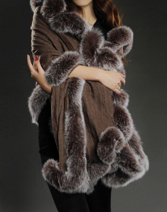 100% из чистого кашемира шаль с натуральным лисьим меховая отделка женская утепленная Толстая на осень-зиму меховая накидка черный элегантны...