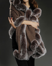 100% pure cashmere shawl with real fox fur trim women warm thick autumn winter cape black elegant brown luxury scarves S116