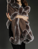 100% pure cashmere shawl with real fox fur trim women warm thick autumn winter fur cape black elegant brown luxury scarves S116