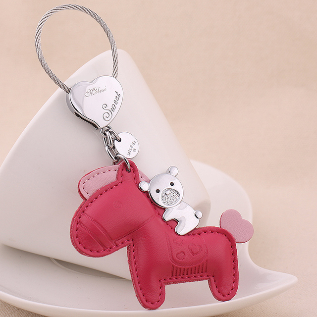 MILESI Brand Keychain Original Cute Design, Key Holder for Women, Lovely Cute Horse Keyring Trinket K0112