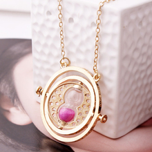 Gold Plated Harry Potter Time Turner Necklace Hermione Granger Rotating Spins Hourglass wholesale CS901