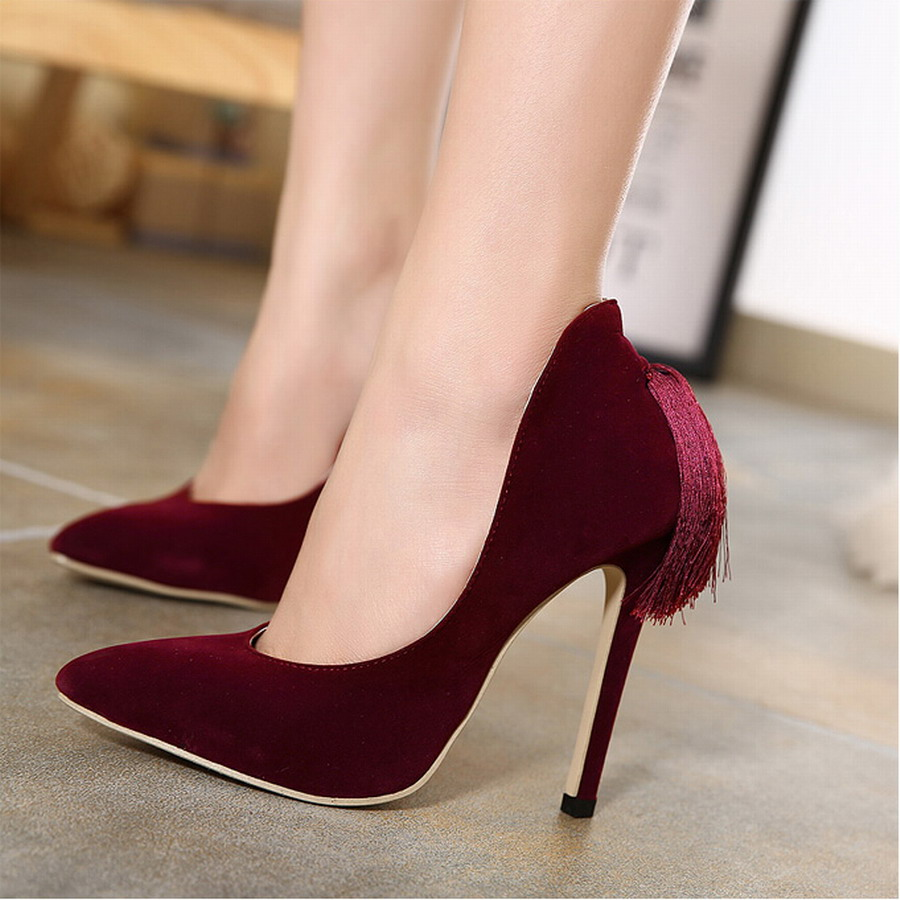2016 New Style Womens Sexy High Heels Pointed Toe Tassel -1930