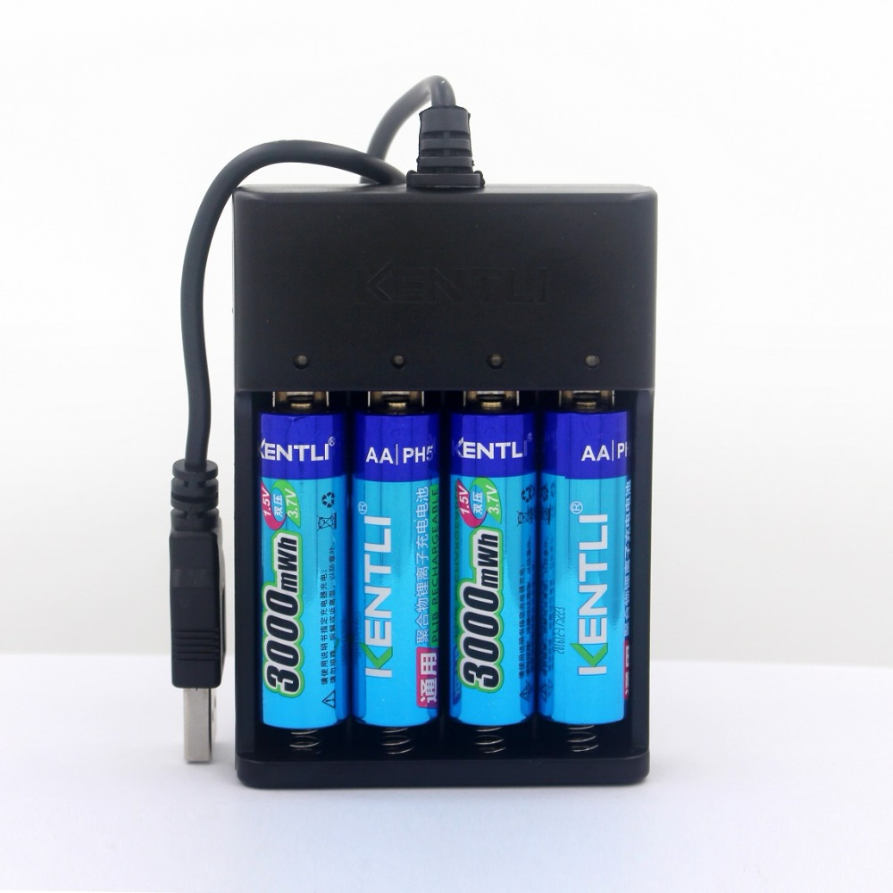 4pcs KENTLI <font><b>1.5v</b></font> 3000mWh Li-polymer li-ion <font><b>lithium</b></font> rechargeable <font><b>AA</b></font> <font><b>battery</b></font> <font><b>batteries</b></font> + <font><b>Charger</b></font> image