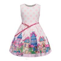 BRWCF Summer Girls Dress Cartoon Print Princess Dress 2017 New Sleeveless Children Clothes Fashion Belt For