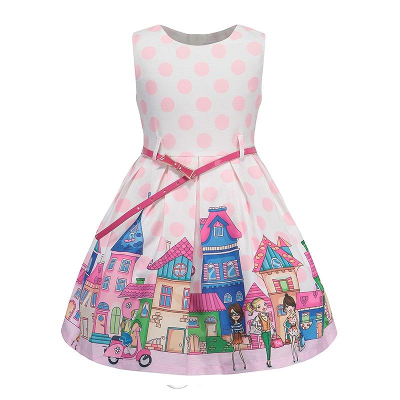 Bongawan Summer Girls Princess Dress Cartoon Print 2018 New Sleeveless Children Clothes Fashion Belt for Party and Wedding girls cartoon print dress