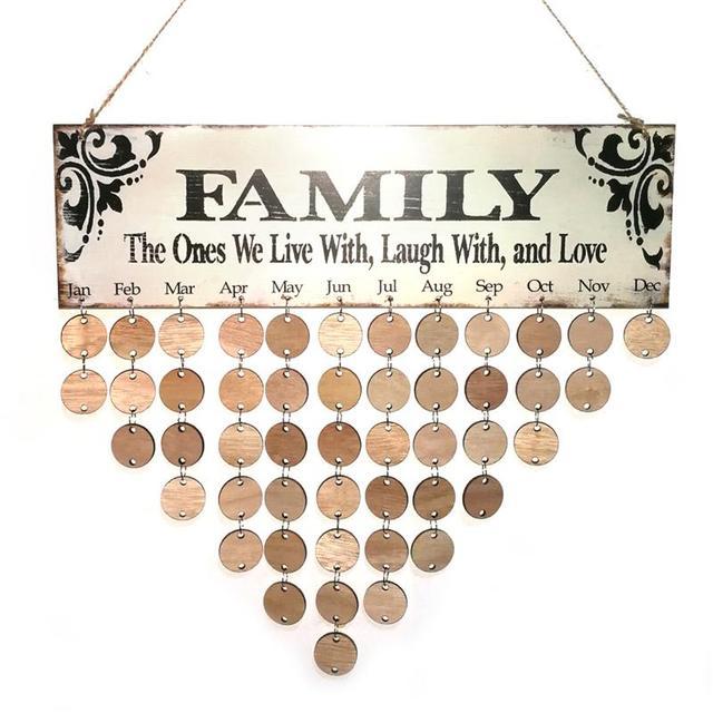 Family Birthday Hanging Plaque Board Diy Wooden Calendar Birthday