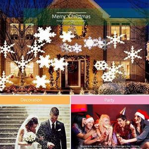 Image 2 - LED חג המולד מקרן אורות חיצוני מנורת דינמי פתית שלג אפקט גן נע Xmas שלב אור עמיד למים נוף אור