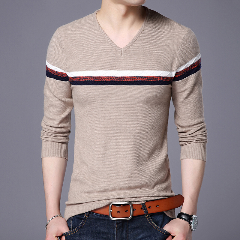 2018 Hot Sale Casual Computer Knitted V-neck Pullovers Men Korean Fashion Striped Print  ...