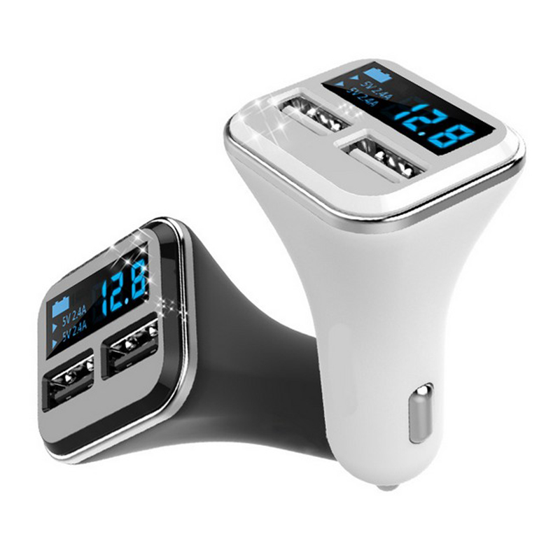 Port Charger Adapter With Digital Display: Car Charger Digital Display Dual USB Port For IPhone IPad