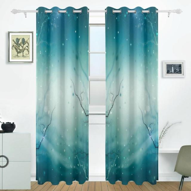Winter Nature Abstract Curtains Drapes Panels Darkening Blackout Grommet  Room Divider For Patio Window Sliding Glass