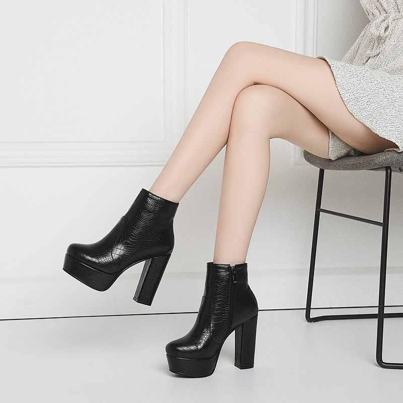 MORAZORA 2020 yeni varış platformu çizmeler kadın yuvarlak ayak kalın süper yüksek topuklu sonbahar kış çizmeler bayanlar yarım çizmeler kadınlar için