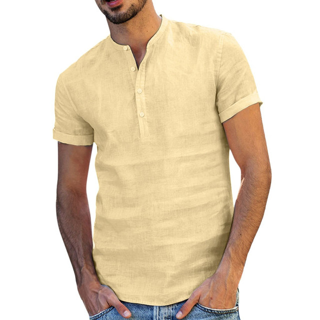 New Summer Men Shirt Baggy Cotton Linen Solid  Short Sleeve V-Neck Retro Top Blouse streetwear