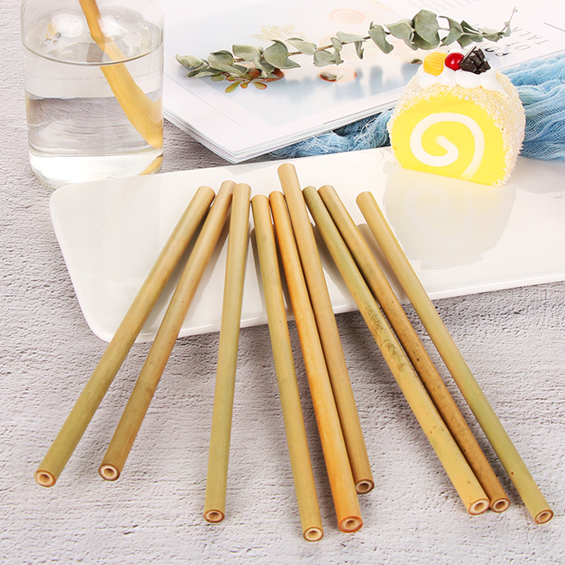 5Pcs Natural Bamboo Straws Organic Reusable Drinking Straw Eco Friendly Cocktail Drink Straw Set With Brush Wedding Party Bar Supply (3)