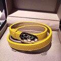 Панк многоцветный двойной круг змея дизайн манжеты браслеты и браслеты титана из нержавеющей стали искусственная кожа марка pulseiras couro