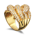 DC1989 Twisted Designed Women Wedding Engagement Rings Gold Plated Synthetic Cubic Zirconia Paved Cocktail Ring Sizes 6 tp 9
