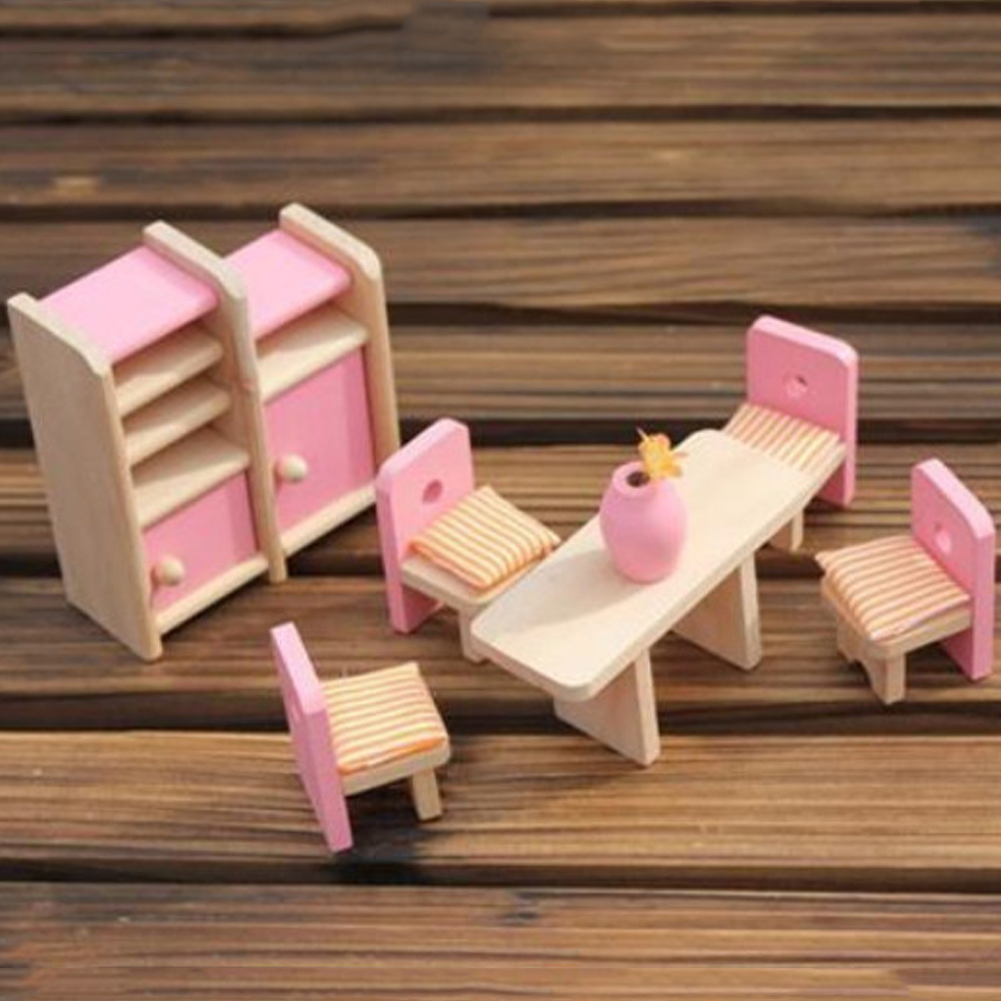 Pink Style Wooden Doll Dinning /Bath/Bedroom House Furniture Toys ...