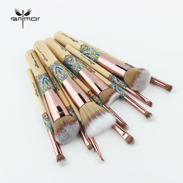 Anmor Makeup Brushes 12PCS Set Bamboo Make Up Brush Soft Synthetic Foundation Powder Contour Eyeshadow Eyebrow Cosmetics Tools